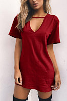 V Neck  Plain Casual Dresses