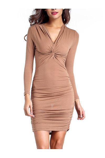 Sexy V-Neck Ruched Plain Bodycon Dress