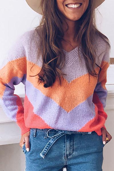 Sweetr V Neck Long Sleeve Color Block Sweater