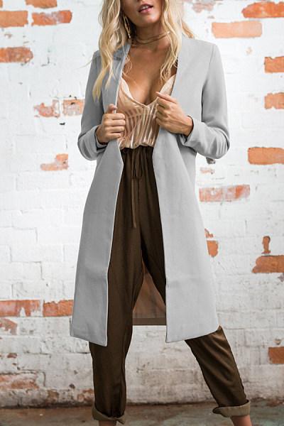 Knee Length  Polyester Plain Outerwear