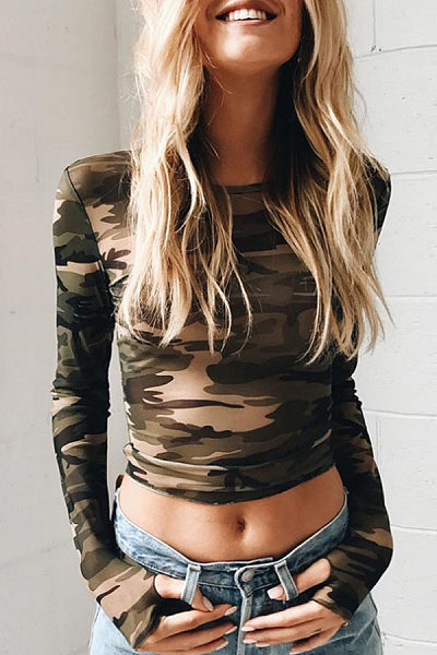 Round Neck  Camouflage Hollow Out T-Shirts