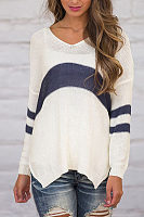 V Neck  Asymmetric Hem  Striped Sweaters