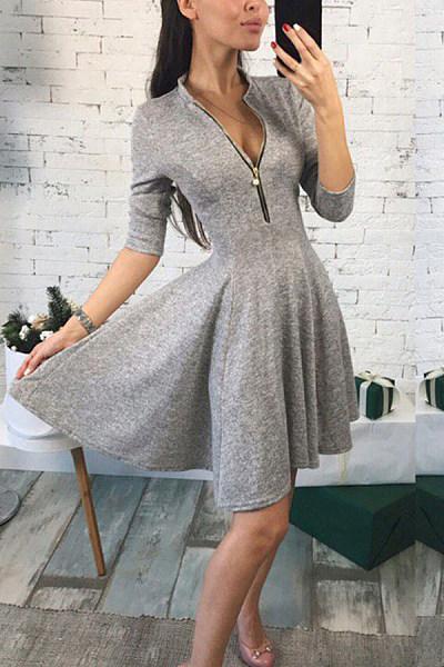 Split Neck  Zipper  Plain  Half Sleeve Skater Dresses