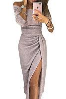Off Shoulder  High Slit  Plain  Long Sleeve Maxi Dresses