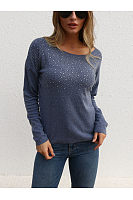 Solid Color One Shoulder Long Sleeve Beads T-Shirt