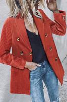 Fold Over Collar  Decorative Buttons  Plain Blazers