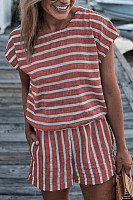 Crew Neck  Striped  Short Sleeve  Playsuits
