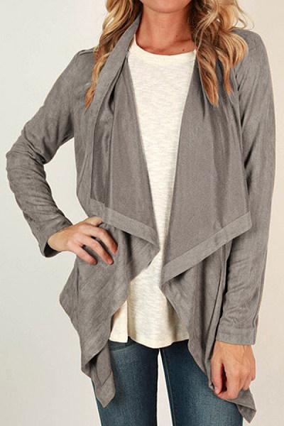 Asymmetric Hem  Casual  Plain Cardigans