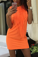 Round Neck  Fringe  Plain  Sleeveless Bodycon Dresses
