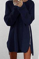 Asymmetric Hem Slit Zipper  Plain Sweaters