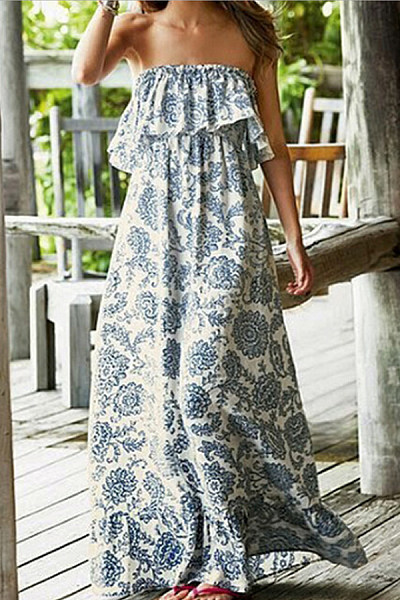 Off Shoulder  Cascading Ruffles  Bohemian  Sleeveless Maxi Dresses