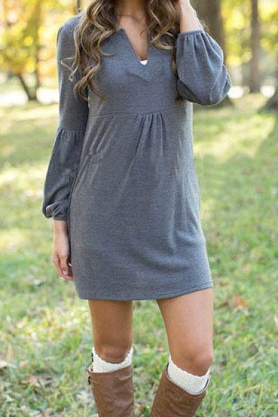 V Neck Plain Shift Casual Dress