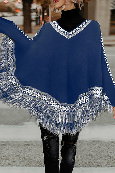 High Neck  Asymmetric Hem Poncho  Plain Outerwear