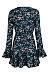 Deep V Neck  Asymmetric Hem  Belt  Floral Printed  Bell Sleeve  Long Sleeve Casual Dresses