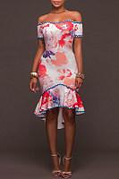 Off Shoulder Flounce Print Bodycon Dress