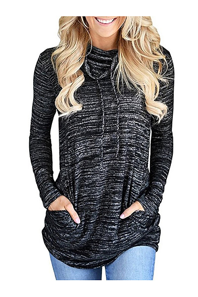 Cowl Neck  Cutout Drawstring Lace-Up Patch Pocket  Contrast Stitching  Color Block Long Sleeve T-Shirts