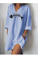 Fashion Fishbone Print T-Shirt Dress