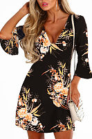 Deep V Neck  Floral Printed  Bell Sleeve  Half Sleeve Casual Dresses