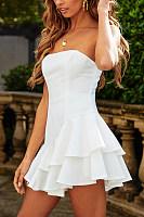 Strapless  Backless  Plain  Sleeveless  Elegant Skater Dresses
