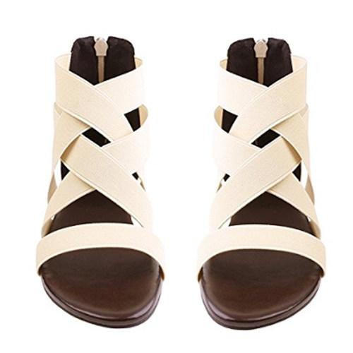Plain  Flat  Ankle Strap  Peep Toe  Beach Casual Sandals
