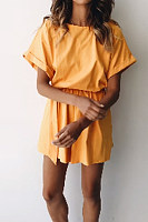 Round Neck  Plain  Short Sleeve  Basic Playsuits