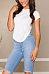 Round Neck  Asymmetric Hem Backless  Plain T-Shirts