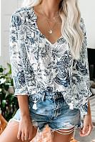 Women Casual Flower Print V-Neck Drawstring Pleated Shirt
