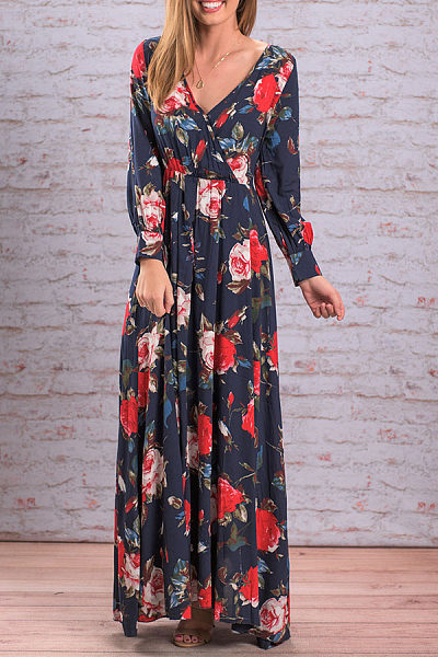 V Neck  Floral Printed  Long Sleeve Maxi Dresses