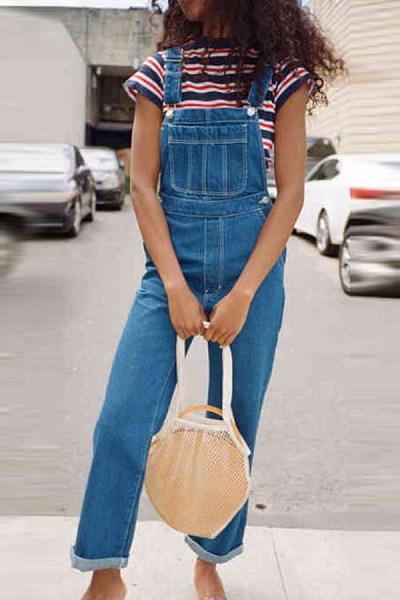Fashion Denim Patch Pocket Denim Overalls