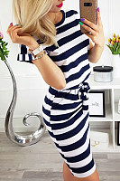 Crew Neck  Belt Loops  Striped  Short Sleeve Bodycon Dresses