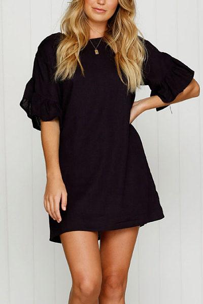 Round Neck  Plain  Bell Sleeve  Short Sleeve Casual Dresses