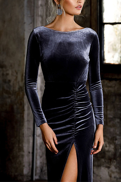 Fashion Sexy Backless Pure Colour Long Sleeve Slit Dress