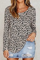 Casual Leopard Print Crew Neck Long Sleeve T-Shirt