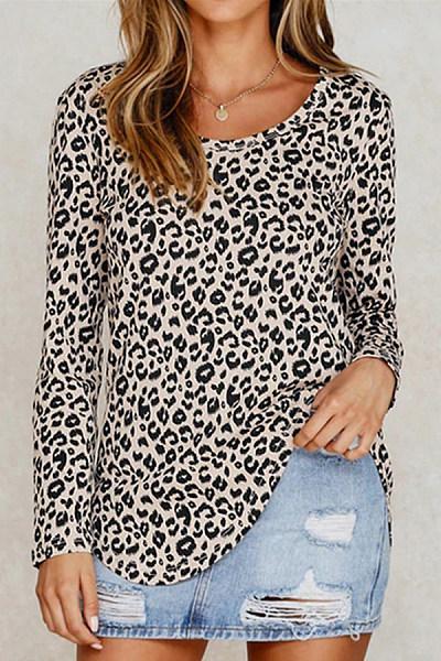 Casual Leopard Print Crew Neck Long Sleeve T-Shirt