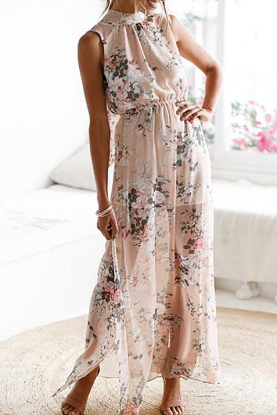 Halter  Elastic Waist Side Slit  Back Hole  Floral Printed Maxi Dresses