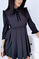 Round Neck  Plain  Long Sleeve Skater Dresses