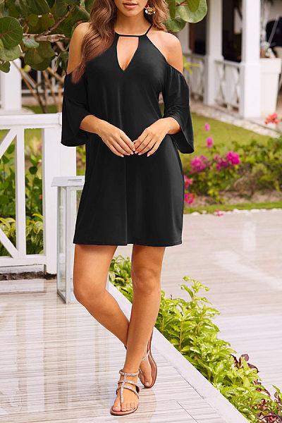 Open Shoulder  Plain  Bell Sleeve  Half Sleeve Casual Dresses