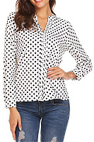 Casual Round Neck Long Sleeve Polka Dot Silk Blouse