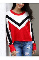 Round Neck  Geometric Sweaters