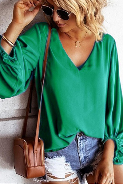 Casual V Neck Pure Colour Long Bishop Sleeve Blouse