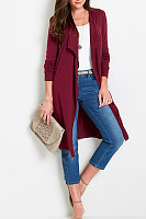 Plain Long Sleeve Asymmetrical Collar Cardigans