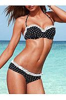 Contrast Trim  Polka Dot Bikini