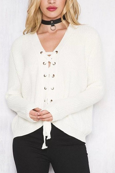 V  Neck  Drawstring  Plain Cardigans