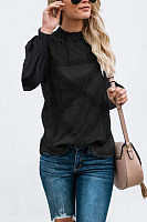 High Neck  Lace Plain  Blouses