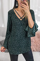 Casual V-Neck Wave Point Trumpet Sleeve Long Sleeve Chiffon Shirt