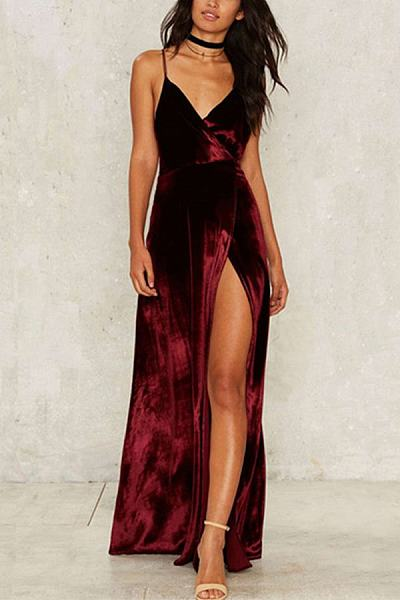 Spaghetti Strap High Slit Maxi Dresses
