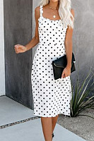 Spaghetti Strap  Ruffle Trim  Dot  Sleeveless Maxi Dresses