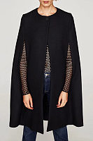 Round Neck  Cape Sleeve Outerwear
