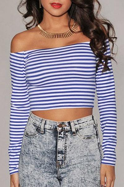 Off Shoulder Stripes Shirt
