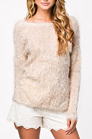 Round Neck  Backless Side Slit  Plain Sweaters